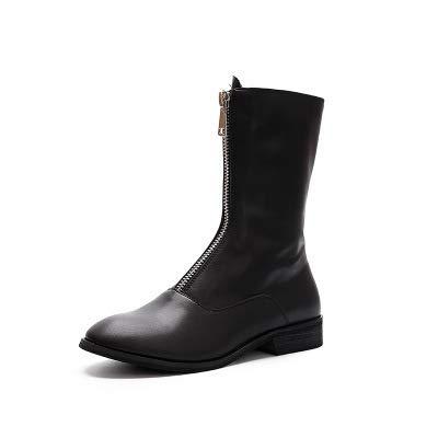 Shukun Knöchelstiefel dick hohe Stiefel für Herbst und und und Winter Reißverschluss vorne rund modisch Rosa 33b92d