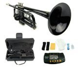 Merano 661881 B Flat BLACK/Silver Trumpet with Case+Mouth Piece+Valve Oil+Metro Tuner by Merano