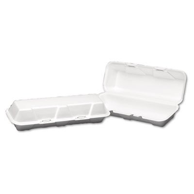 Genpak 26600 13-3/13-Inch Length by 4-1/2-Inch Width by 3-1/8-Inch Depth White Color Extra Large Hoagie Foam Hinged Container 100-Pack (Case of ()