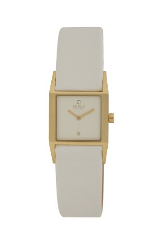 Obaku Women's V113LGIRW  25mm Rectangular White Leather Watch