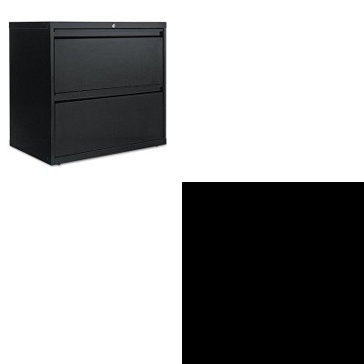 KITALELF3029BLTNN342GLPY - Value Kit - Tennsco Executive Steel Bookcase W/ Glass Doors (TNN342GLPY) and Best Two-Drawer Lateral File Cabinet (ALELF3029BL) - Executive 2 Drawer Lateral File