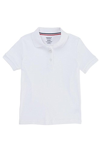 French Toast Big Girls Short Sleeve Picot Collar Interlock Polo, White, - Polo Kids Outlet