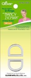 "Bulk Buy: Clover Nancy Zieman's Bag Hardware D Rings 3/4"" 2/Pkg Glossy Nickel 9530 (3-Pack)"