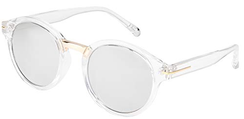 Round Crystal and Gold Frame, Silver Mirror Lens, Gold Bridge, Silver Tip