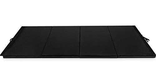 4'x10'x2 Gymnastics Mat Folding Panel Gym Fitness Exercise Mat Black with Ebook