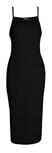 Forever Womens Plain Strappy Viscose Bodycon Long Midi Dress (Girls Dress Strappy)
