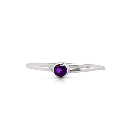 Koral Jewelry Round Amethyst Delicate Ring 925 Sterling Silver Vintage Boho Chic (8) ()