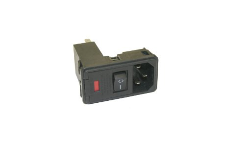 Interpower 83543000 Three Function Single Fuse Power Entry Module, C14 Inlet, Switch, Single Fused, 0.08-2mm Panel Thickness, 10A Current Rating, 120/250VAC Voltage Rating