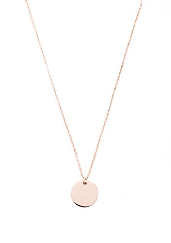 [Happiness Boutique Women Circle Necklace Rose Gold | Minimalist Necklace with Round Charm] (Unique Costume Ideas For Teenage Girls)