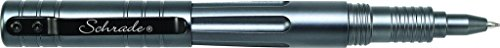Schrade SCPENG 5.7in Grey Aluminum Refillable Screw-Off Tactical Pen for Outdoor Survival, Protection and EDC