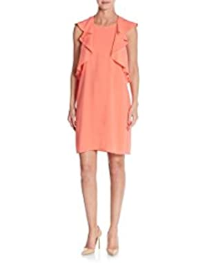BCBGMAXAZRIA Jenni Flounce Dress, Medium, Pink Coral