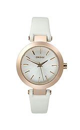 DKNY Rose-Gold-Tone Round Leather Strap Women's watch #NY8835 from DKNY