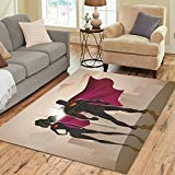 INTERESTPRINT Super Woman Male Area Rug Carpet 7 x 5 Feet, Superwoman and Man Heroes Modern Floor Rugs Mat for Office Home Living Dining Room -