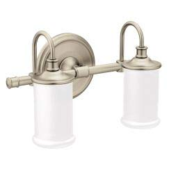 Moen YB6462BN Belfield 2-Light Dual-Mount Bath Bathroom Vanity Fixture with Frosted Glass, Brushed Nickel Bath Williamsburg 2 Light