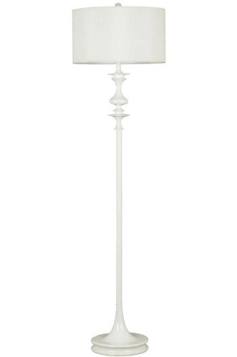 Claiborne Floor Lamp, White Drum, White Gloss (White Wood Floor Lamp)