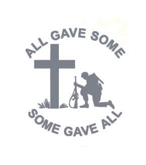Creative Concepts Ideas All Gave Some Some Gave All Soldier Kneeling Cross CCI Decal Vinyl Sticker|Cars Trucks Vans Walls Laptop|Gray|5.5 x 5.1 in|CCI2214 (All Gave Some Some Gave All Tattoo)