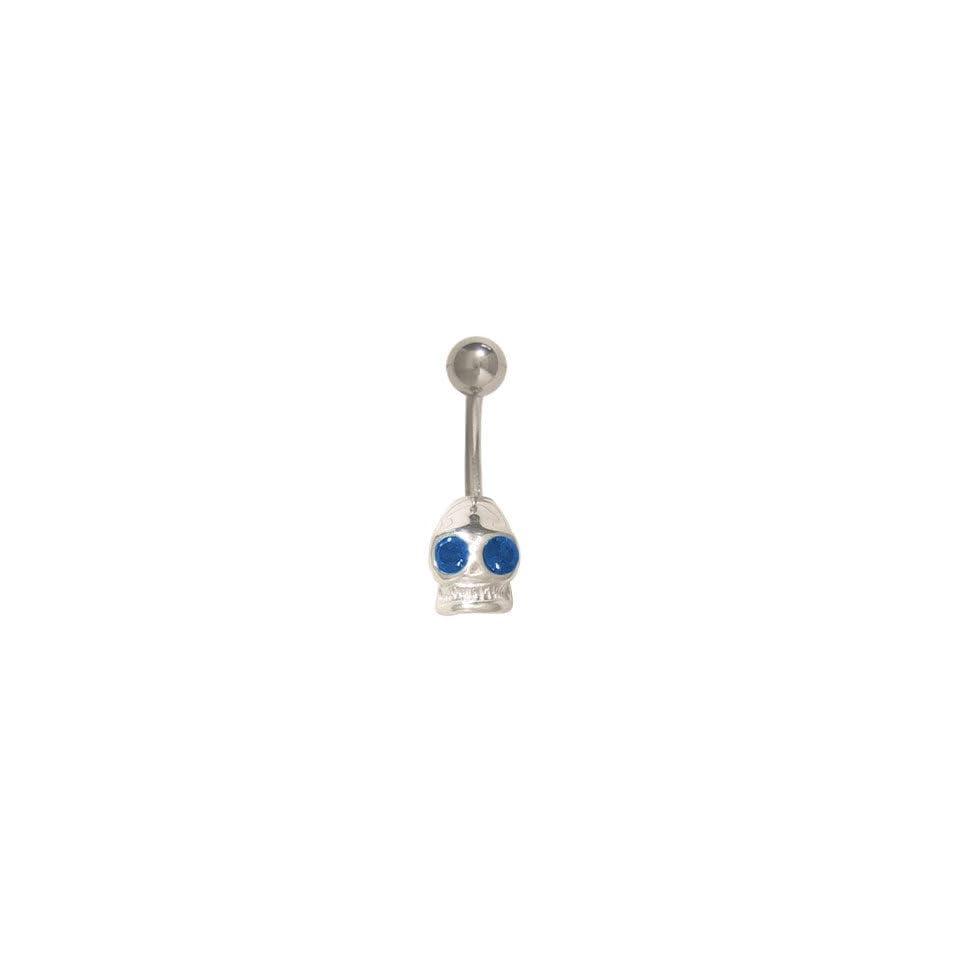 Sterling Silver Skull Head Belly Ring with Dark Blue Cz Gems