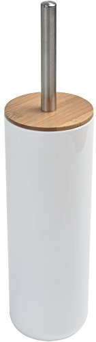 Evideco Bathroom Free Standing Toilet Bowl Brush and Holder Padang White-Bamboo Top Cover, White, Brown (Brown Drip Mirror)