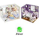 (Flever Dollhouse Miniature DIY House Kit Creative Room With Furniture and Glass Cover for Romantic Artwork Gift(Kitten Diary and Sweet Sunshine))