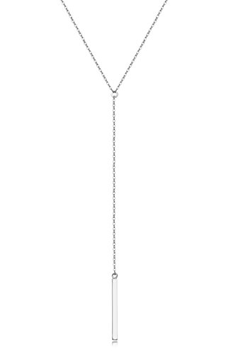 New Lariat Necklace (925 Sterling Silver Women Y Style Minimalist Bar Drop Pendant Necklace Jewelry Gift)