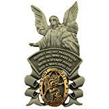 Pewter Saint Michael with Guardian Angel Medal Car Visor Clip, 2 1/4 Inch
