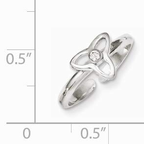 Black Bow Jewelry Cubic Zirconia Trinity Toe Ring in Sterling Silver