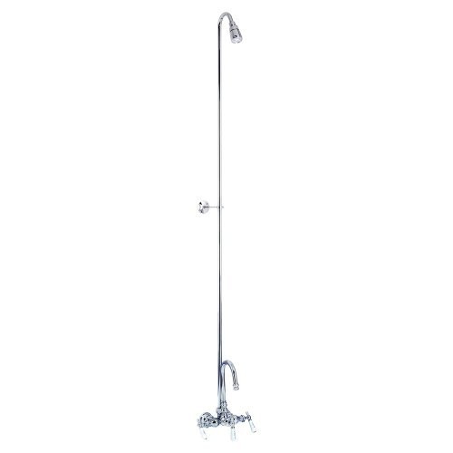 Barclay 4013-PL-CP Barclay Gooseneck Tub Filler with Diverter and Plastic Shower Head for Cast Iron - Barclay Gooseneck