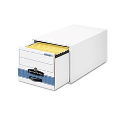 * Stor/Drawer Steel Plus Storage Box, Letter, White/Blue, 6/Carton by MotivationUSA (Image #1)