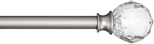 AmazonBasics – Bastone per tende, 1,6 cm, con elementi decorativi a forma di palla sfaccettata, 122 cm, Trasparente