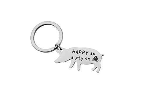 SEIRAA Pig Jewelry Happy As A Pig Keychain Pig Lover Gift Pig Birthday Gift Farming Jewelry Gift for Pig Farmer (Happy Pig Keychain)