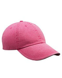 Anvil Solid Low Profile Sandwich Trim Pigment Dyed Twill Cap (Flamingo) (One) (Dyed Twill Solid Cap Pigment)