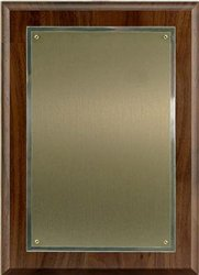 Walnut Plaque 8 x 11, Satin Brass/SilverPlate 5 1/2 x 8 1/2 (Silverplate Brass)