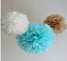 (Since ® 12 Mixed White Blue Tan Brown Party Tissue Pompoms Paper Flower Pom Poms Wedding Birthday Nursery Baby Room Decoration Favor)