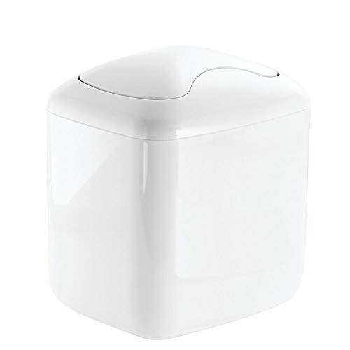 - mDesign Modern Plastic Square Mini Wastebasket Trash Can Dispenser with Swing Lid for Nursery Changing Table, Countertop, Tabletop - Dispose of Wipes, Tissues, Cotton Swabs