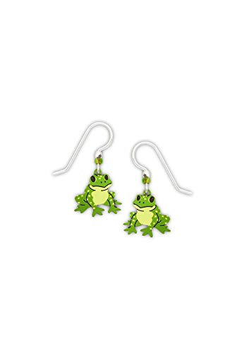 Etched Brass Dangle Earrings (Frog)