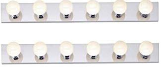 36 Inch Strip Fixture - Dysmio Lighting Six Light Vanity Strip, Polished Chrome, 36-Inch 2 Pack