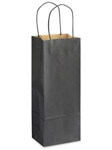 Black Wine Bottle Bag (Wine Gift Bags Black, 5.5