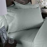 1500 Thread Count Egyptian Cotton KING Size, SAGE GREEN Stripe, Duvet Cover Set . Set Includes 1 DUVET COVER and 2 PILLOW SHAMS / Pillow - Cotton Stripe Sage