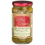 Miss Leones Garlic Flavored Almond Stuffed Gourmet Queen Spanish Green Olives Net Wt 12 oz