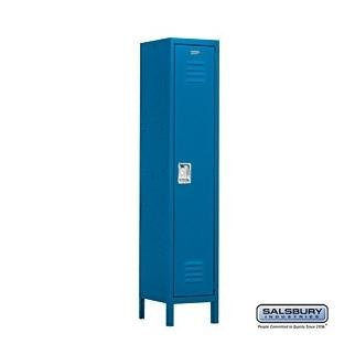 Salsbury Industries Assembled 1-Tier Extra Wide Standard Metal Locker with One Wide Storage Unit, 6-Feet High by 15-Inch Deep, Blue by Salsbury Industries