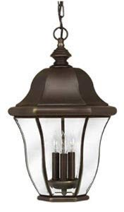 Hinkley 2332CB Monticello Brass Outdoor Lantern Fixture, Copper Bronze - Clear Beveled Glass Panels
