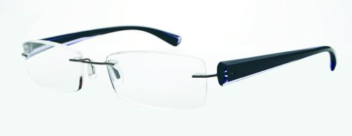 Scojo Gels Widelines Rimless Reading Glasses - Multiple Colors - Hard Coordinated Case Included, 1.25, Black/Gray