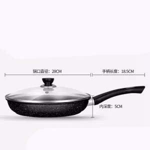 Huishoudelijke Kleine Pan Pan Non-stick Pan Geen Oil Smoke Pot Universal Cooker Gasfornuis Pan Kitchen Pot, 28cm met deksel stalen koekenpan,dsnmm