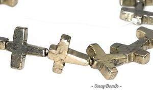 11MM Cross Palazzo Iron Pyrite Gemstone Cross 11MM Loose Beads 16