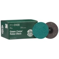 3M Green Corps 264F Coated Aluminum Oxide Quick Change Disc - 24 Grit - 3 in Dia - 01408 [PRICE is per DISC]