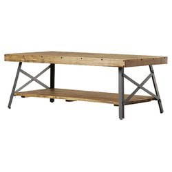 Urban-looking Sturdy Coffee Table, Asian Hardwood and Iron Construction, Rustic Brown, Perfect for a Modern Living Room Hardwood Urban Coffee Table