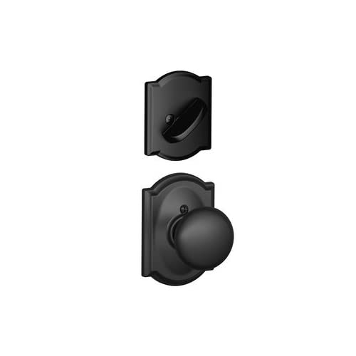 Schlage F59-PLY-622-CAM Matte Black Plymouth Knob and Deadbolt with