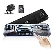 #LightningDeal AKASO Mirror Dash Camera for Cars - 10'' Backup Camera 1080P Dual Dash Cam Front and Rear Stream Media Touch Screen DVR with Sony IMX307 G-Sensor Parking Monitor 32 GB SD Card (DL9)