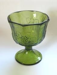 Vintage Indiana Colony Glass Compote in Harvest Green Pressed Grape Pattern