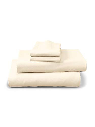 Eddie Bauer Unisex-Adult Portuguese Flannel Sheet Set - Solid, Ivory Full Full